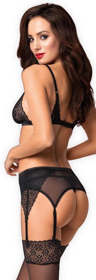 Čierny krajkový erotický set Obsessive Shibu - tangá, podprsenka a podväzkový pás