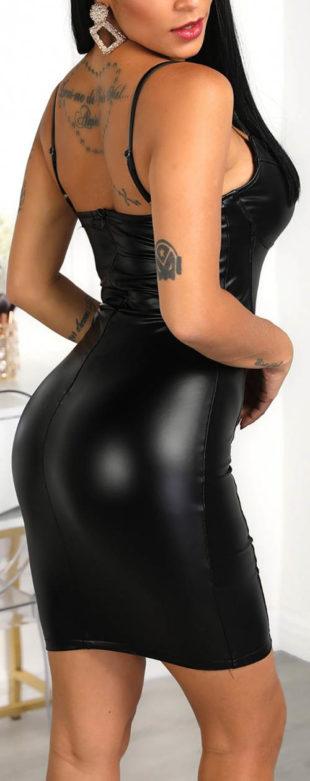 Čierne koženkové minišaty