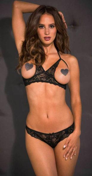 Čipkovaný erotický set – otvorená podprsenka a string nohavičky